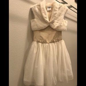 Jona Michelle Glittery Dress with Faux Fur Shrug